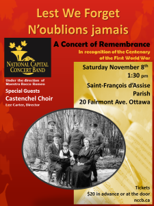 A Concert of Remembrance November 8th 2014 at Saint Francois d'Assise, Ottawa ON